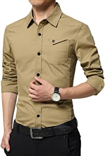Dacawin Men's British Formal Button-Down-Shirts Casual Military Slim Fit Long Sleeve Dress Shirt