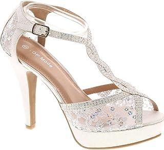JJF Shoes HY-5 Open Toe Crochet High Heel Sandals