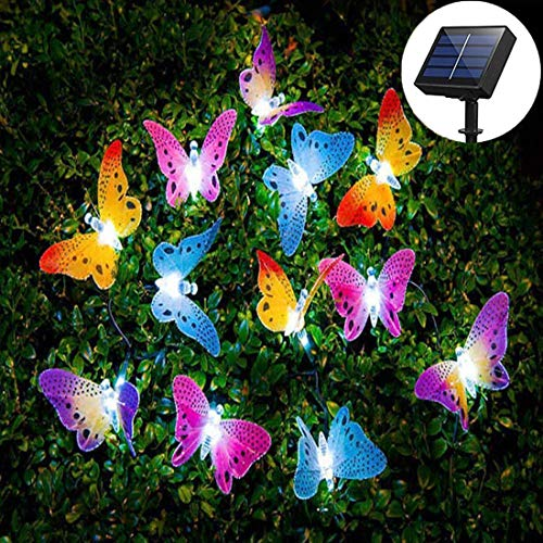 Solarleuchte Garten LED Solarlampe Gartenleuchte Multi Farbe Schmetterling Lichterkette,ideal für außen, Terrasse, Rasen, Garten,Balkon Deco, Hinterhöfe und Wege Decor Beleuchtung