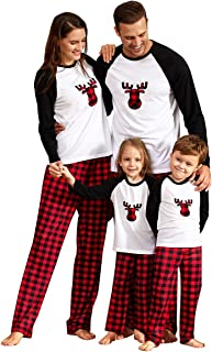 Yaffi Family Matching PyjamasSet Christmas Festival Outfits Deer Printed Top with Plaid Bottoms Loungewear