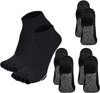 YISK Store Socks for Women Non Slip, Toeless Non Skid Sticky Grip Sock - Pilates, Barre, Ballet
