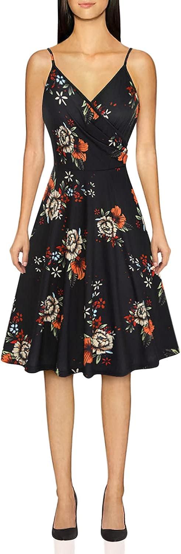 KILIG Women's V Neck Floral Spaghetti Strap Summer Casual Dress Sleeveless Wrap Midi Sundress with Pocket