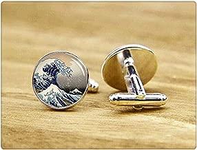 Great Wave of Kanagawa Cufflinks, Japanese Sea, Custom Wedding Cufflinks, Groom Cufflink, Dome Glass Jewelry