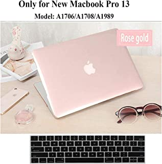 Twinscase Rosegold MacBook Pro 13 Case A1706/A1708/A1989,Version 2018/2017 /2016,Black Keyboard Cover Touchbar,See Through Ultra Slim DustProof Rubberized Feet Protective Case for MacBook Pro13 Inch
