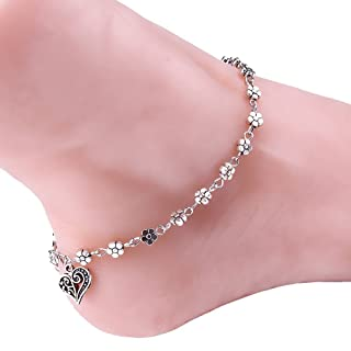 LIEIKIC Jewelry Tibetan Silver Hollow Plum Blossoms and Bead Chain Anklet for Women