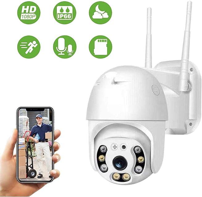 Cámara de Seguridad WiFi Exterior Aottom 1080P PTZ Camara Vigilancia Exterior Cámara de Vigilancia Audio de Dos Vías Visión Nocturna 40M Detección de Movimiento Notificación de Alarma IP66