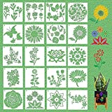 YINVA Flower Stencil 20 Pieces Flower Stencils for Painting Rose Bird Butterflies Sunflower Stencil Reusable Painting Stencil and Metal Open Ring for Painting on Wood Wall for Home Decoration