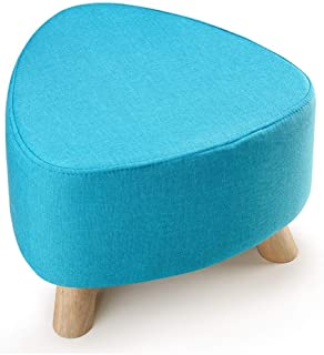 Ottoman Footstool, Nordic Three-Legged Round Change Shoes Bench Sofa Stool Washable, 3 Colors, 2 Styles LIUDINGDING (Color : Blue, Size : 39x39x28cm)