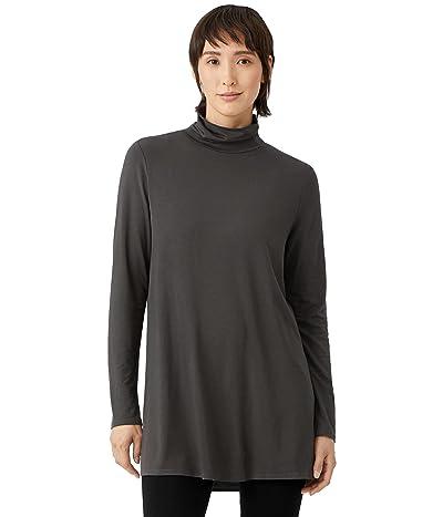 Eileen Fisher Scrunch Neck Tunic in Fine Stretch Jersey Knit