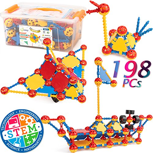 cossy STEM Learning Toy Engineering Construction Building Blocks 198 Pieces Kids Educational Toy for Boys and Girls Ages 3 4 5 6 7 8 9 Year Old 198 Pcs