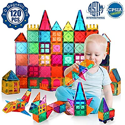 VATENIC Kids Magnetic Building Blocks Set 120PCS 3D Color Magnet Tile Magnetic Blocks Toys for Kids Children,Educational Learning Toys Birthday Gifts for Boys Girls Age 3 4 5 6 7 8 9 10 Year Old