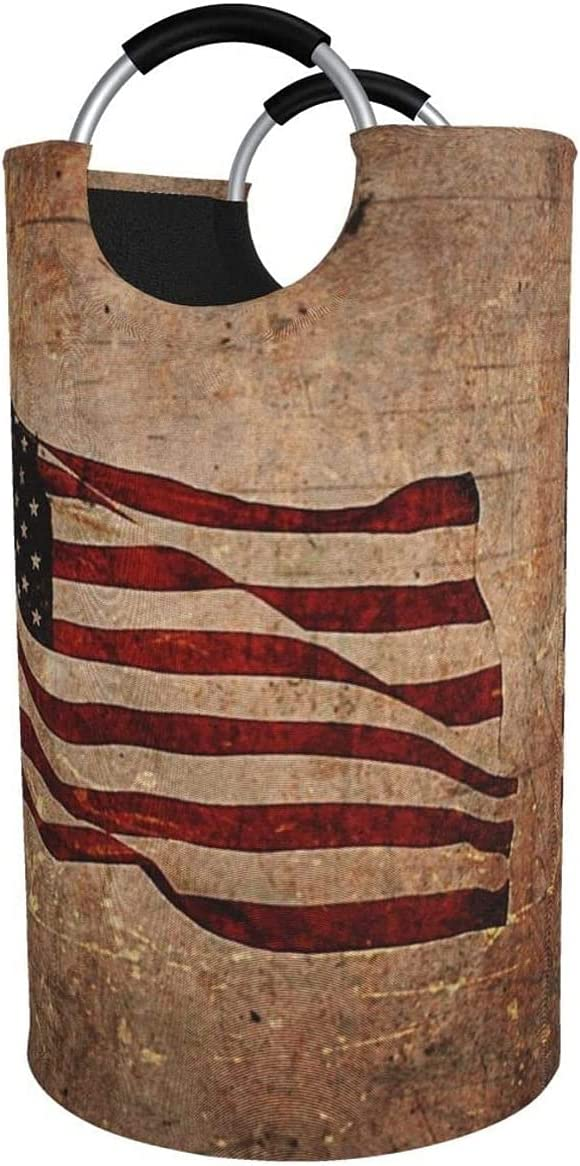 82L Large Wholesale Laundry Basket Wooden Flag American Collapsible Laund Popular