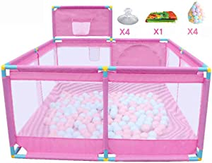 FCXBQ Portable baby park with basketball court  balls and large rug  indoor outdoor area for children  activity center for girls  pink
