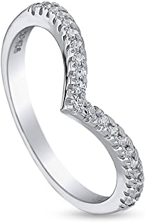 Rhodium Plated Sterling Silver V Shaped Wedding Curved Half Eternity Band Ring Made with Swarovski Zirconia
