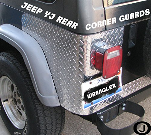 Fits Jeep Yj Wrangler 3 Pc Diamond Plate Rear Body Armor Corner Guard Kit