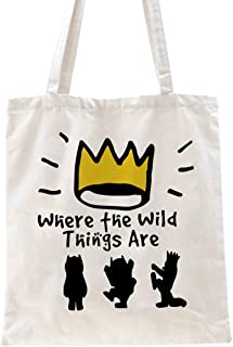 Ihopes Where The Wild Things are Reusable Tote Bag   Funny Library Cotton Canvas Tote Bag School Bag Book Lovers Bookworm ...
