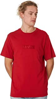 Levi's Men's Relaxed Boxtab Logo Mens Tee Crew Neck Short Sleeve Cotton Red