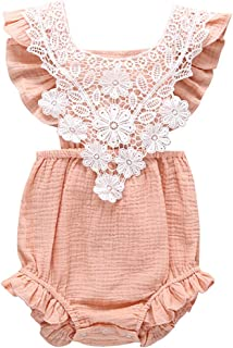 ZOOMY Mono Infantil para bebés Mameluco de Encaje sin Mangas Verano Color sólido Calado Flores Estilo Overol Ropa de rastreo - XL # Rosa