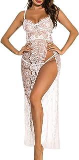 Women Plus Size Sexy Sheer Lace Long Lingerie Robe Underwear Sleepwear Side Split Maxi Gowns Dress