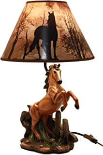Ebros Gift Rearing Wild Chestnut Horse Stallion Desktop Table Lamp With Nature Printed Shade Home Decor 19