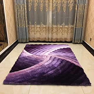 Be&xn 3D Stereo Bright Silk Collection Rug, Vivid Lines Tall Pile Height Soft and Fluffy Area Rugs -Purple 160x230cm(63x91inch)