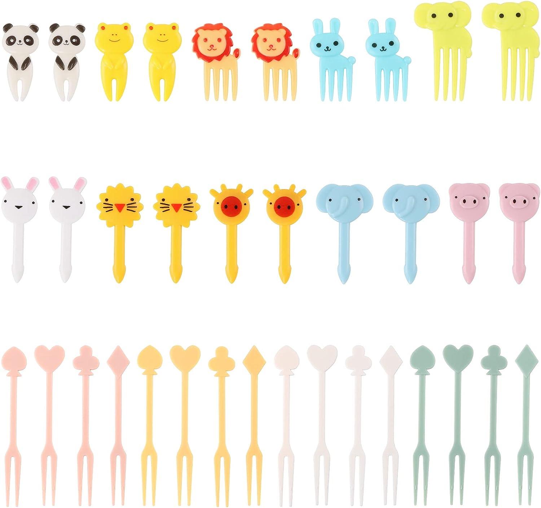 PUIKUS Fresh Food Picks for Kids & Adults, 56 Pieces Animal Bento Deco Set, Mini Bento Decorations Set for Baby Showers and Kids Parties, Mini Cartoon Toothpick, Bento Lunch Deco