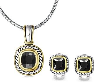 UNY Elegant Wedding Jewelry Sets CZ Crystal French Clip Earring Enhancer Pendant Designer Inspired