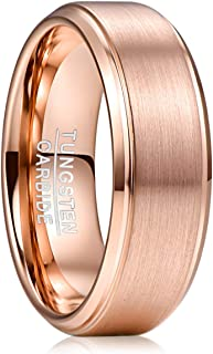 8mm Rose Gold Plated Tungsten Wedding Band Ring Brushed Finish Step Edge Comfort Fit Size 7-12