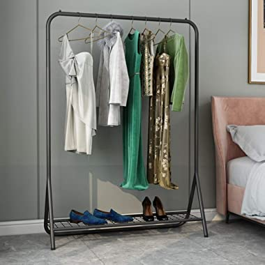 XINGLL Multifunctional Metal Coat Rack Stand,with Storage Hallway Hall Tree Free Standing Shelves (Color : Black, Size : 100c
