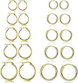 Set di 10 paia di orecchini rotondi a cerchio, per donne e uomini, ragazze, leggeri, in acciaio inox, per cartilagine, sen...