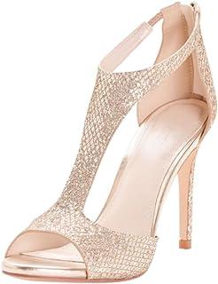 David's Bridal Glitter Fabric T-Strap Heels Style Saylor