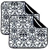 Lot de 2 tapis de séchage en microfibre pour cuisine, égouttoir, tapis de séchage absorbant pour verre, assiette et tasse 40 cm x 46 cm Blanc avec feuille noire White With Black Leaf