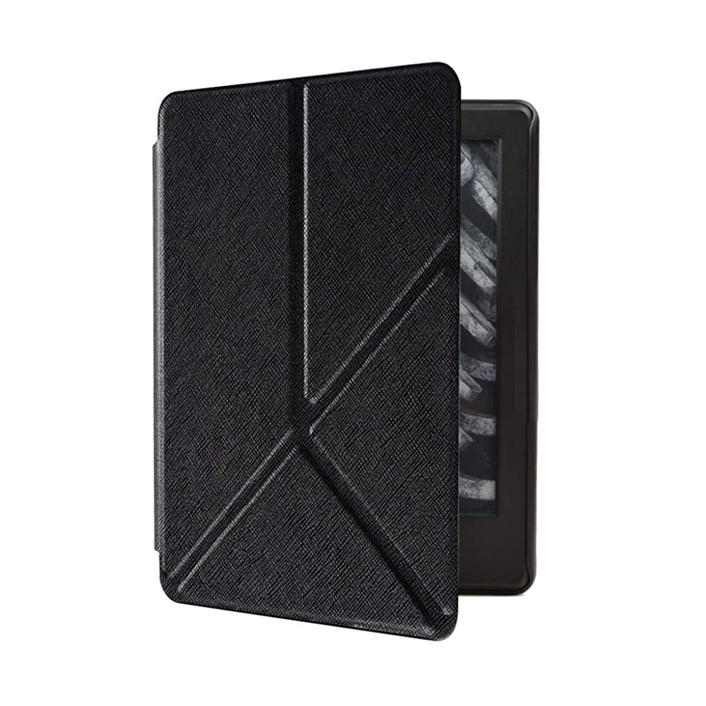 Cywulin Case for All-New Kindle Paperwhite 10th Generation 2018 Lightweight PU Leather Folio Cover Slim Folding Shell Stand Smart Auto Wake Sleep for Amazon Kindle Paperwhite E-Reader (Black)
