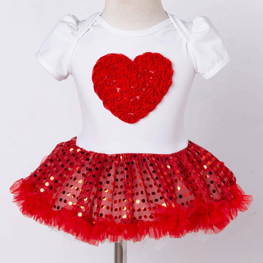 Shoes Outfits Set 3 PCS Toddler Baby Girls Short Sleeve Paillette Heart Dress