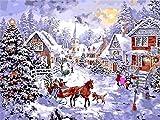 ZUIAIIUYA Pintar por Numeros Adultos Niños DIY Pintura por Números con Pinceles Y Pinturas,Regalos De Decoración del Hogar-Navidad Ocupada(16 * 20 Pulgadas, Sin Marco)