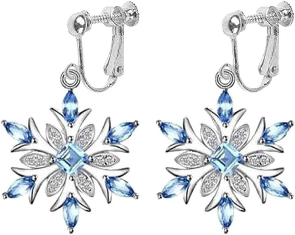 Clip on Earrings for Girls Women White Gold Tone Christmas Snowflake Flower Dangle Blue Crystal