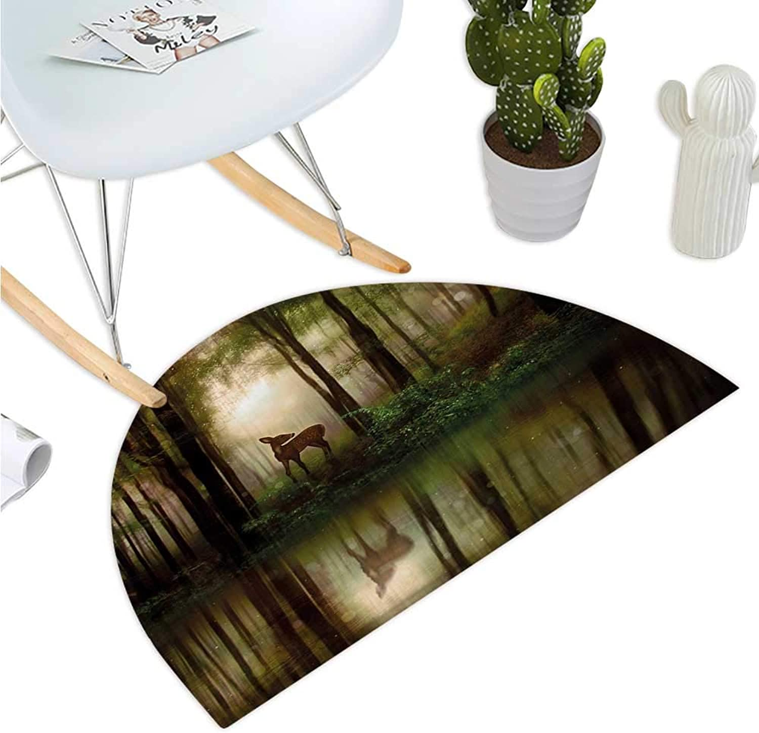 Nature Half Round Door mats Baby Deer in The Forest with Reflection on Lake Foggy Woodland Graphic Bathroom Mat H 51.1  xD 76.7  Fern Green Cocoa Brown