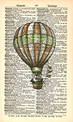 "Print on a Vintage Dictionary Page Size: Approx 4"" x 7"" Title: Hotair Balloon Item does not include matting and framing Suitable for all rooms."