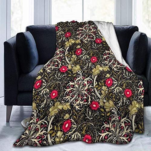 Coperta da tiro divertente in pile di flanella Coperta da tiro vintage con fiore rosso in piena fioritura Giardino selvatico Modello di alghe per la festa autunnale Decorativa leggera 50x40 pollici