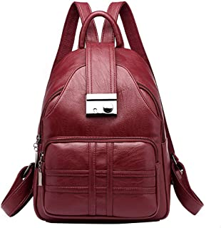 YOMXL Women Backpacks Soft Leather Anti-Theft Rucksack Casual Lightweight Small Backpack Travel Daypack for