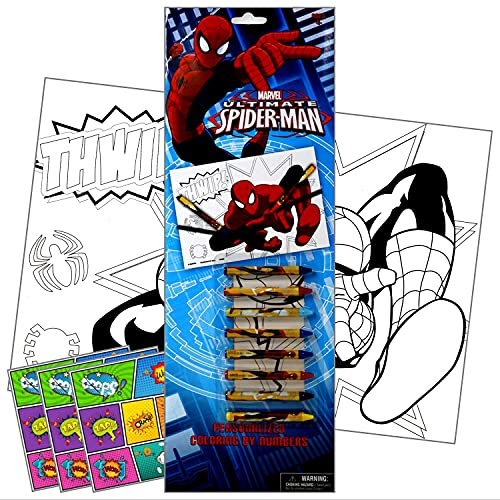 Spiderman Marvel Heroes Activities for Kids Bundled with Specialty Separately Licensed GWW Reward Stickers (Spiderman Coloring by Numbers with Spider-Man Crayons)