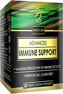Actif Advanced Immune Support with 10+ Factors for Immunity Booster - 100% Natural, Non-GMO, 60 count