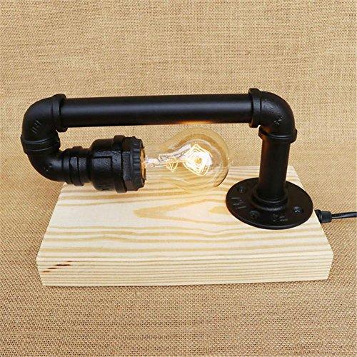 Lampe de Table Retro Art en bois Tubes d'eau Lampe de table Lampe de table vintage créative pour salon Chambre Bar Hall Pub Bureaux Café Ambiance Décoration Lampadaire de chevet, N