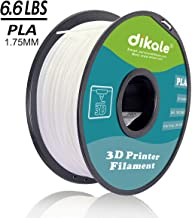 Dikale PLA 3D Printer Filament - 3KG 6.60 lbs (1005m/3297ft)1.75mm, Dimensional Accuracy +/- 0.02 mm, 3KG Spool 1.75 mm, White
