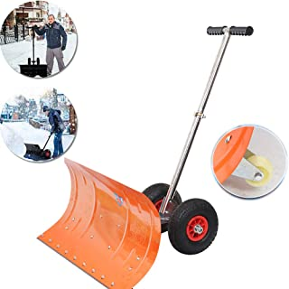 Wheeled Snow Pusher, Heavy Duty Snow Shovel, with 4 Wheels, Efficient Snow Plow Suitable for Driveway or Pavement Clearing
