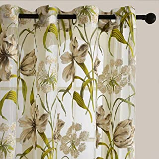 JHKSO Tropical Floral Print Semi Sheer Curtains for Living Room Bedroom Kitchen Printed Flower Window Curtains Tulle