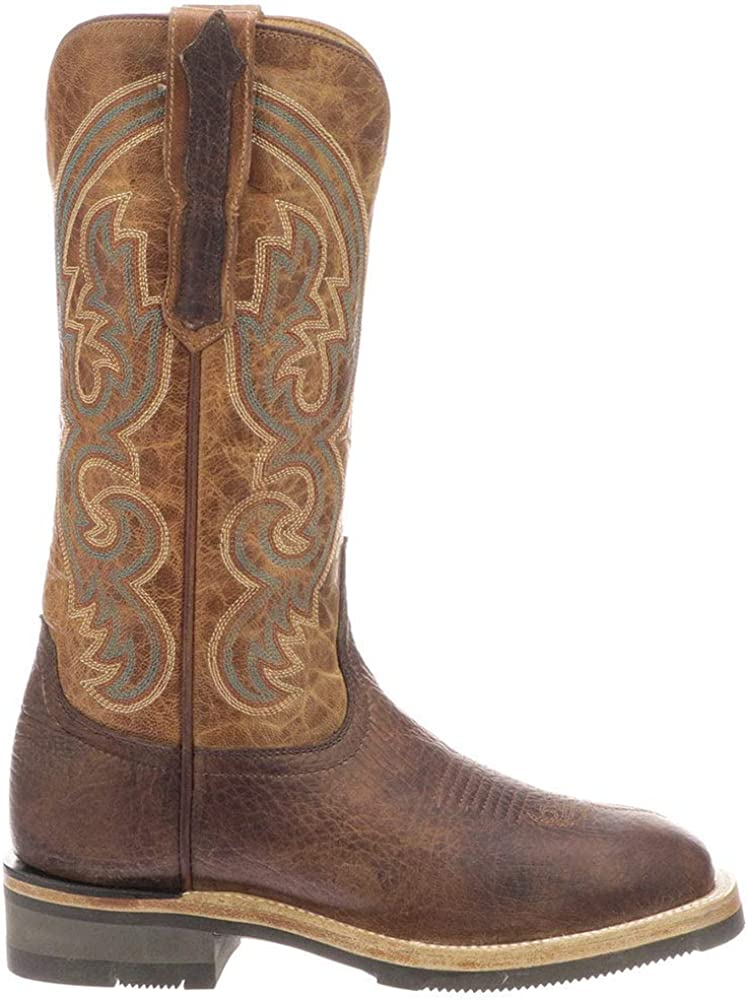 Lucchese Womens Ruth Square Toe Western Cowboy Boots Mid Calf Low Heel 1-2