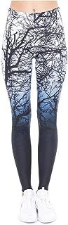 M-ONEZOU Women Legging Trees Printing Blue Fitness Leggings High Waist Woman Pants