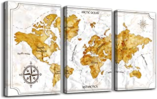 Vintage Compass World Map Poster Printed Wall Art for Office ,golden Yellow Map Watercolor Prints Artwork , 3 Pieces Large Size Framed Canvas Wall Decor for Living Room Ready to Hang Home decoration