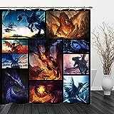 Drachen-Duschvorhang, Fantasie-Duschvorhang, Feuer & Eisdrachen, magische Tiere, Duschvorhänge für Badezimmer-Dekor-Set, 178 x 177,8 cm, mit Haken